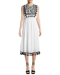 Philosophy Tassel And Embroidered Midi Dress White