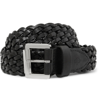 Mulberry Black 3Cm Woven Leather Belt