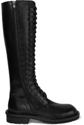 Ann Demeulemeester Lace Up Leather Knee Boots Black