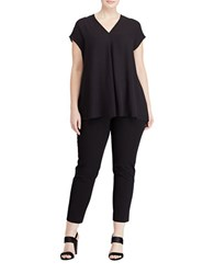 Lauren Ralph Lauren Plus Andry Pleated Relaxed Fit Top Polo Black