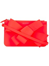 Delpozo Asymmetric Bow Clutch Calf Leather Pink Purple