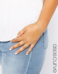 Asos Curve Faux Pearl Bracelet And Hand Harness Pack Cream