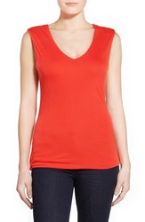 Petite Women's Halogen Sleeveless V Neck Top Red Fiery