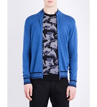 Armani Jeans Contrast Trim Stretch Ribbed Cardigan Blue
