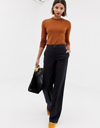 Mango High Waist Trousers In Grey Check Grey Check