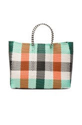 Truss Large Tote In Orange White Green Checkered And Plaid Orange White Green Checkered And Plaid