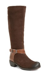 Fly London Women's 'Meek' Knee High Buckle Strap Boot Expresso Tan Oil Suede