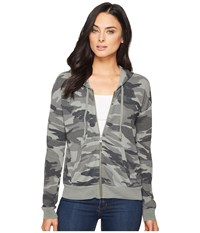 Splendid Camo Zip Hoodie V Military Olive Women's Sweatshirt Gray