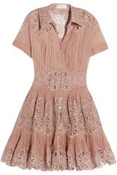 Zimmermann Winsome Cotton Gauze And Lace Mini Dress Antique Rose