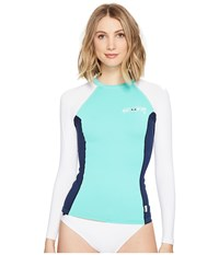 O'neill Skins L S Crew Seaglass Navy White Women's Swimwear Blue