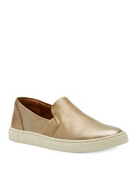 Frye Ivy Leather Slip On Sneakers Gold