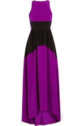 Tibi Color Block Washed Silk Gown Purple