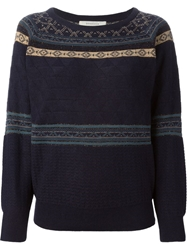 Sessun Embellished Jacquard Sweater Blue