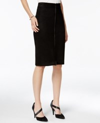 Bar Iii Faux Suede Zip Front Pencil Skirt Only At Macy's Deep Black