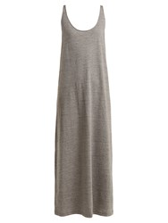 Raey Skinny Strap Cotton Jersey Dress Grey