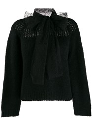 Red Valentino Bow Ribbed Crew Neck Jumper Black