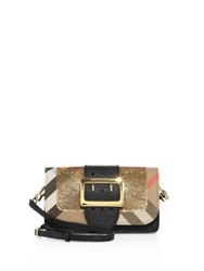 Burberry Oversized Buckle Accented Sequined Mini Crossbody Bag Gold