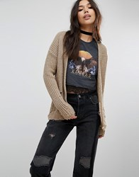 Asos Cardigan With Deconstructed Hem Beige