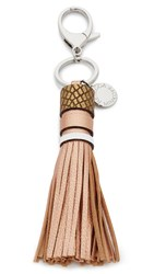 Rebecca Minkoff Metallic Pebbled Tassel Keyfob Rose Gold