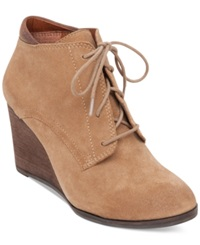 Lucky Brand Women's Sumba Lace Up Wedge Booties Women's Shoes Sesame