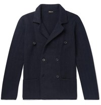 Rubinacci Slim Fit Double Breasted Ribbed Cashmere Cardigan Navy