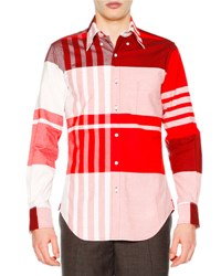 Thom Browne Oversized Plaid Long Sleeve Oxford Shirt Red Red Plaid
