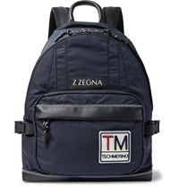 Ermenegildo Zegna Leather Trimmed Shell Backpack Navy