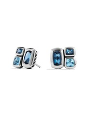 David Yurman Confetti Earrings With Blue Topaz And Hampton Blue Topaz Silver