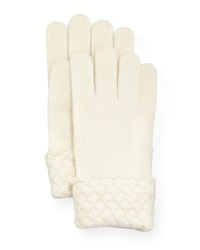 Sofia Cashmere Cashmere Basket Weave Trim Tech Gloves