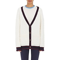Tory Sport Women's Cable Knit V Neck Cardigan White