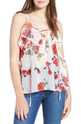 Soprano Women's Lace Up Ruffle Tank Ivory Red