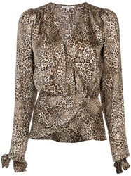 Torn By Ronny Kobo Leopard Print Blouse Brown