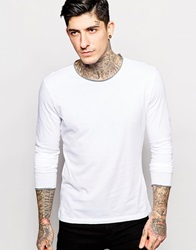 Sisley Long Sleeve T Shirt With Contrast Raw Edge Neck White