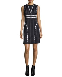 Edun Square Pinstripe Button Trimmed Sheath Dress Women's