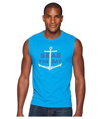Life Is Good Seas The Day Smooth Muscle Tee Marina Blue Sleeveless