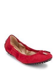 Tod's Bow Detail Leather Ballet Flats Pink