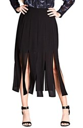 City Chic Plus Size Women's Stuck On You Pleated Maxi Skirt Black