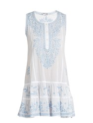 Juliet Dunn Sleeveless Embroidered Cotton Voile Dress White Multi