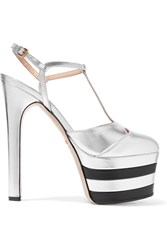 Gucci Metallic Leather Platform Pumps Silver