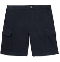 Brunello Cucinelli Cotton Blend Jersey Cargo Shorts Midnight Blue
