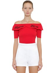 Red Valentino Strapless Cotton Rib Knit Sweater Red