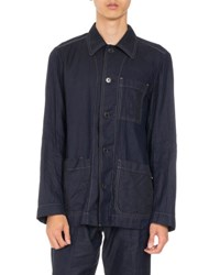 Dries Van Noten Cardiff Topstitched Shirt Navy