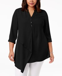 Ny Collection Plus Size Asymmetrical Top Black