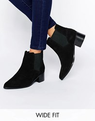 Asos Reality Wide Fit Suede Ankle Boots Black