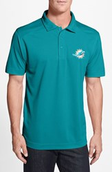 Men's Cutter And Buck 'Miami Dolphins Genre' Drytec Moisture Wicking Polo Aqua