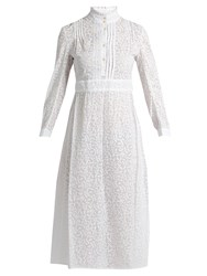 Thierry Colson Rebecca Leaf Print Cotton Shirtdress White