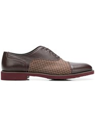 Moreschi Checked Panel Oxford Shoes Red