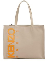 Kenzo Leather Logo Patched Cotton Canvas Tote Beige