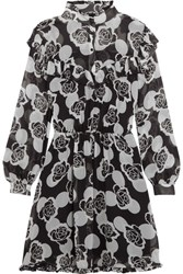 Topshop Unique Crawford Floral Print Silk Georgette Mini Dress Black