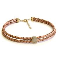 Liza Schwartz Jewelry Pave Nut Double Camel Leather Choker
